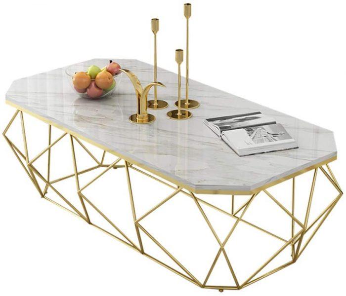 Trouver une table marbre dorée