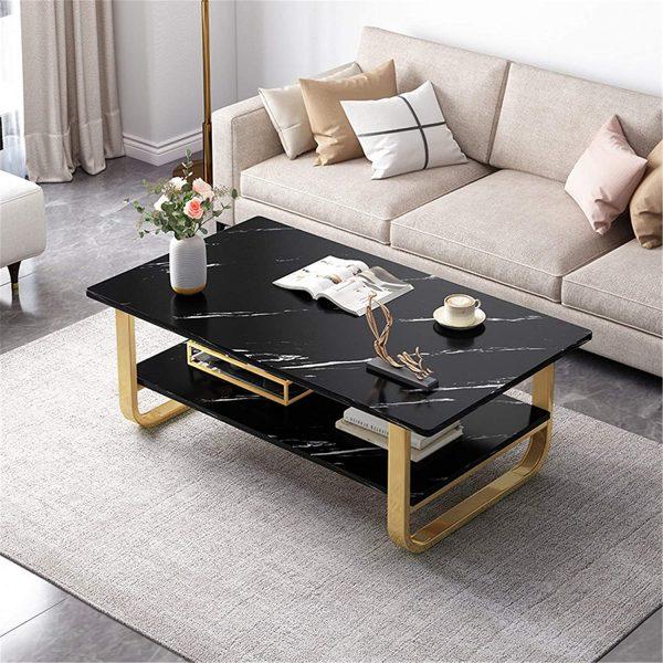 Table basse en marbre noir : un salon plus chaleureux