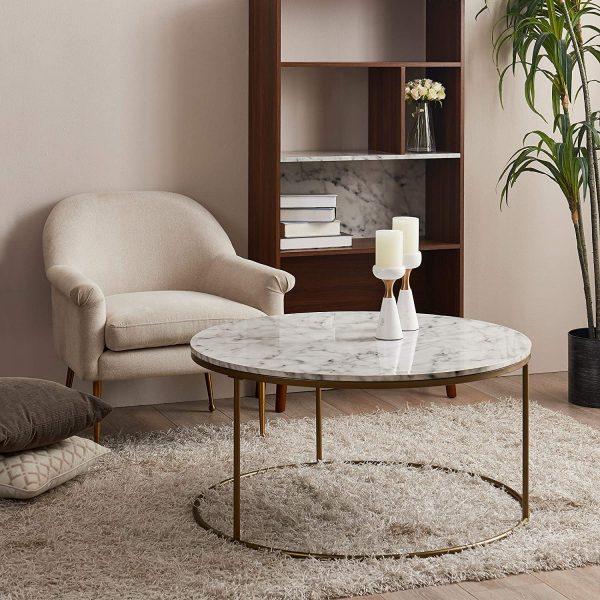 Trouver une table basse marbre et laiton en ligne