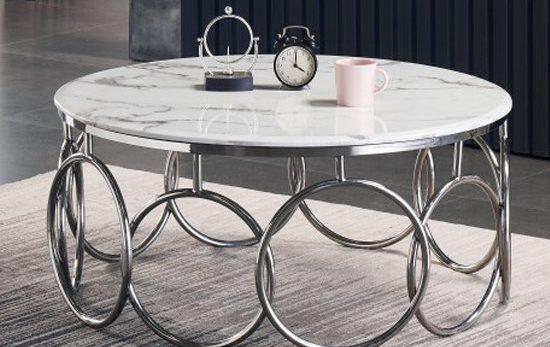 table basse marbre et argent